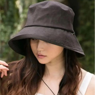 新品 QUEENHEAD 紫外線100%カット あご紐付き UVハット 帽子 黒(ハット)