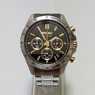 セイコー(SEIKO)の【SEIKO/セイコー】クォーツ クロノグラフ ブラックフェイス メンズ腕時計(腕時計(アナログ))
