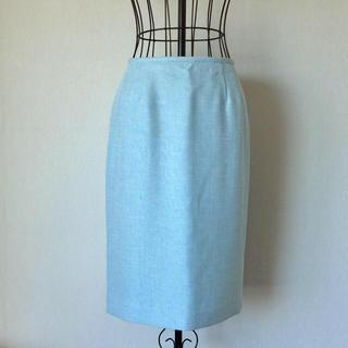 ソワール(SOIR)の東京ソワール  ヴィンテージ  テーパードスカート 水色 サイズ9(ひざ丈スカート)