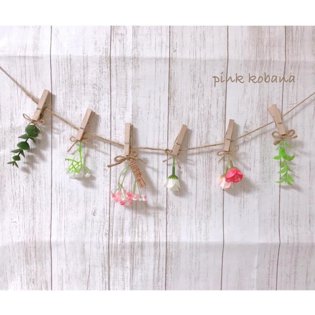 春系♡ピンク小花ガーランド♡インテリア、ドライフラワー、スワッグ、造花 ハンドメイドのフラワー/ガーデン(ドライフラワー)の商品写真