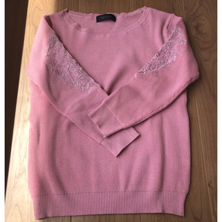 ジャスグリッティー(JUSGLITTY)のジャスグリッティー  袖刺繍ゆるニット 美品(ニット/セーター)