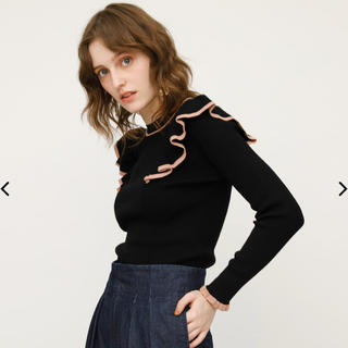 moussy - moussy front w frill tops ブラック