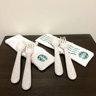 スターバックスコーヒー(Starbucks Coffee)の非売品 海外スタバ フォーク・スプーン カトラリー2種セット(カトラリー/箸)