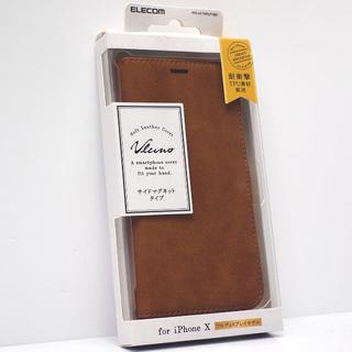 iPhoneXS,X用 手帳型ケース 耐衝撃TPU素材採用 ブラウン(iPhoneケース)