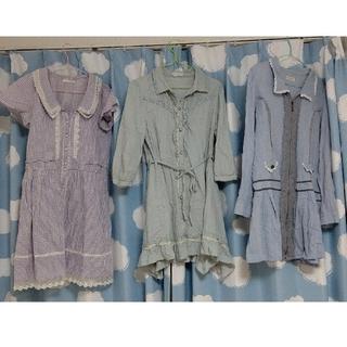 アクシーズファム(axes femme)のアクシーズ axes 春 夏 ワンピース 羽織 シャツワンピ 青 セット (ひざ丈ワンピース)