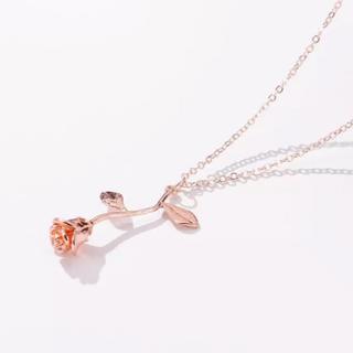 イートミー(EATME)のバラ ローズ ネックレス ♡ ピンクゴールド 韓国(ネックレス)