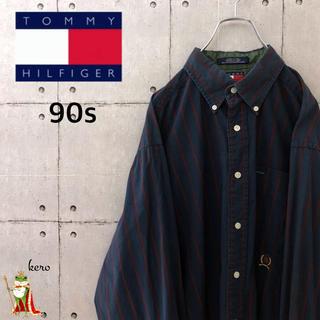 トミーヒルフィガー(TOMMY HILFIGER)の【激レア】90s オールド トミーヒルフィガー ストライプ シャツ(シャツ)