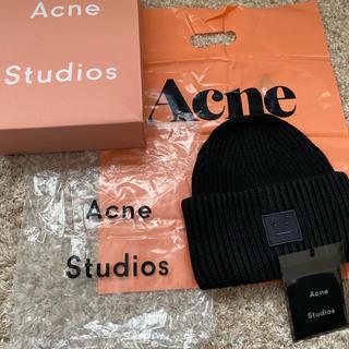 アクネ(ACNE)のアグネストゥディオズ acne studios ニット帽 ブラック(ニット帽/ビーニー)