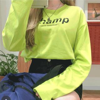 mixxmix レタリングクロップド長袖tシャツ