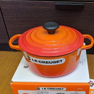 ルクルーゼ(LE CREUSET)のルクルーゼ ル・クルーゼ ココットロンドシグニチャー18cm オレンジ 送料無料(鍋/フライパン)