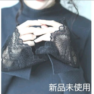 cawaii - 花柄レース刺繍ハイネックリブニットレースドッキング春物ニットcawaiiニット