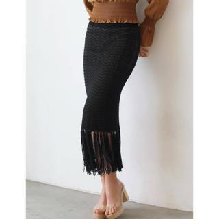 ラグナムーン(LagunaMoon)のラグナムーン シングルジャガードニットフレンジスカート(ロングスカート)