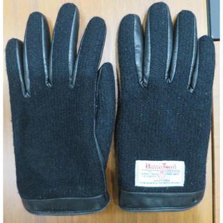 ハリスツイード(Harris Tweed)のハリスツイード Harris Tweed 本革 手袋 レディース 黒(手袋)
