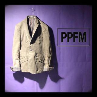 ピーピーエフエム(PPFM)のPPFM テーラードジャケット カーキ 内ストライプ柄 コットン100%(テーラードジャケット)