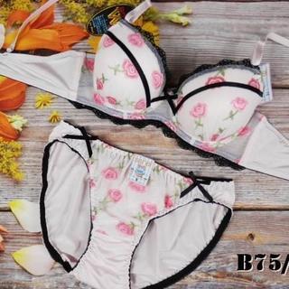 SE03★B75 M★美胸ブラ ショーツ Wカップ ローズプリント ピンク(ブラ&ショーツセット)