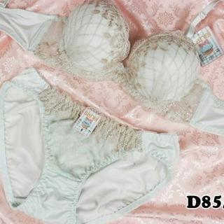 SE16★D85 L★美胸ブラ ショーツ 谷間メイク ダイアゴナルチェック 緑系(ブラ&ショーツセット)