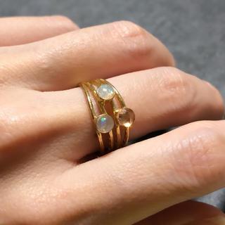 プレシャスオパール AAAランクジルコニア 真鍮叩き仕上(リング(指輪))