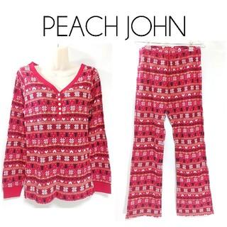 PEACH JOHN - ピーチジョン 総柄 ルームウェア 上下 セットアップ L 赤 レディース