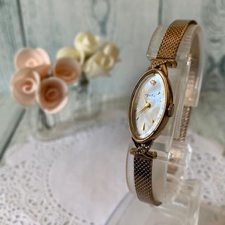 アガット(agete)の【電池交換済み】agete アガット 腕時計 クラシック K10 0.052ct(腕時計)