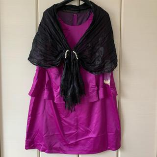 大きめサイズ サテン風ワンピース ドレス(ミディアムドレス)