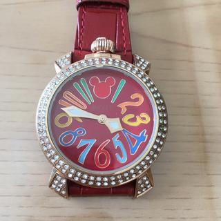 ディズニー(Disney)の美品!ディズニー スワロフスキー 本牛革ベルト ミッキー 腕時計(腕時計)