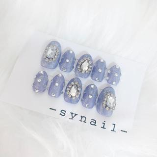 韓国風 グレーブルー グリッター 宝石 ネイル チップ