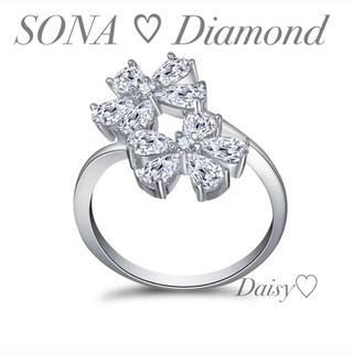 最高級SONA♡ダイヤモンド ペアシェイプドロップフラワーリング【オーダー専用】(リング(指輪))