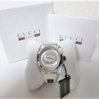 グッチ(Gucci)の☆GUCCI グッチ シンク 腕時計 時計 ビッグフェイス/メンズ☆ホワイト(ラバーベルト)