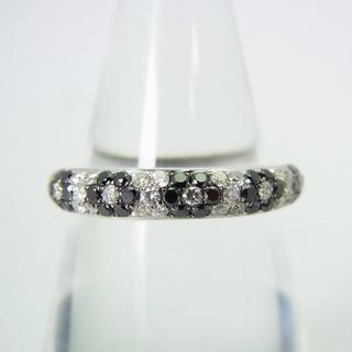 K18WG ブラック/無色ダイヤモンド リング 10号 [g171-7](リング(指輪))
