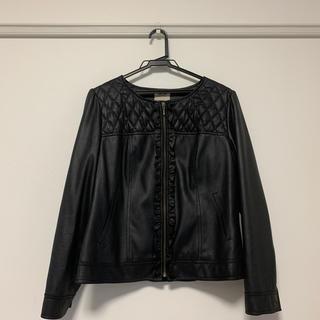 ローズティアラ(Rose Tiara)のローズティアラ  レザー風ジャケット 黒 ノーカラー 大きいサイズ 42(ノーカラージャケット)