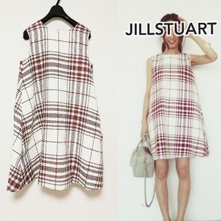 JILLSTUART - 4万円【JILLSTUART】グレンチェック 白×赤 ワンピース