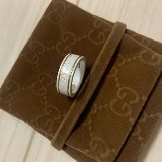 グッチ(Gucci)のGUUCI リング セラミック ジルコニアホワイト×イエローゴールド(リング(指輪))