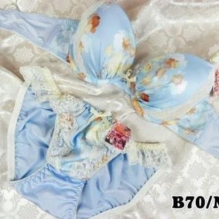 SE24★B70 M★美胸ブラ ショーツ Wパッド フラワープリント 水色(ブラ&ショーツセット)