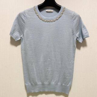 アベニールエトワール(Aveniretoile)のアベニールエトワール 春らしいパール付き半袖ニット 水色(ニット/セーター)