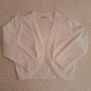 STRAWBERRY-FIELDS - ストロベリーフィールズ 真っ白な定番ボレロ風カーディガン 7分袖 フリーサイズ