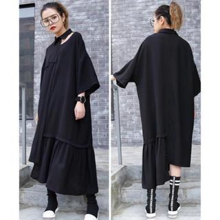 ワンピース 変形 フリル 半袖 ブラック 大きいサイズ(ロングワンピース/マキシワンピース)