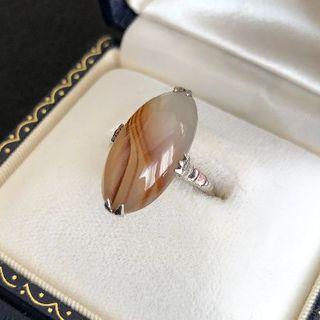 縞瑪瑙 アゲート レトロ リング 千本透かし 指輪(リング(指輪))