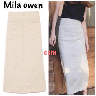 Mila Owen - Mila owen☆ミラオーウェン☆パッチポケットリネンタイトスカート