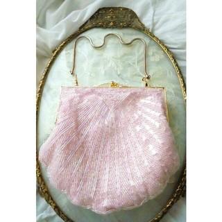 ピンク系 ビーズ バッグ 貝殻型 着物 浴衣 パーティ 結婚式 ドレス ワンピと(ハンドバッグ)