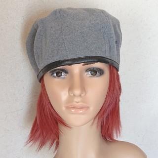 トウヨウエンタープライズ(東洋エンタープライズ)のcode/東洋ハット リアルレザーパイピングベレー帽 グレー系 新品(ハンチング/ベレー帽)