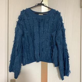 GU - 【最終値下げ価格/GU】ゆったり大きめフリンジニットセーター  ブルー