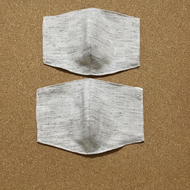 ガーゼマスク作り方立体プリーツ / 立体 インナーますく 綿麻 ブラウン系 2枚組の通販