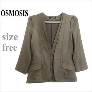 OSMOSIS - OSMOSIS*オズモーシス*カーキ系シンプルタック七分袖ジャケット*S~M位