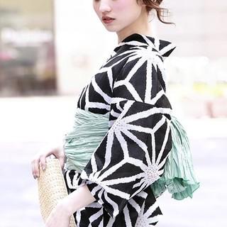 【週末セール】ボヌールセゾン 浴衣単品 麻の葉柄 黒 ブラック