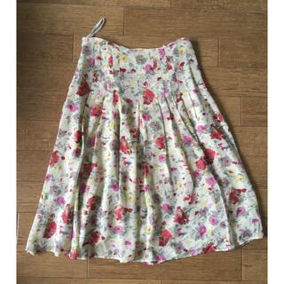 花柄 シルクスカート ウエストリボン付き(ひざ丈スカート)