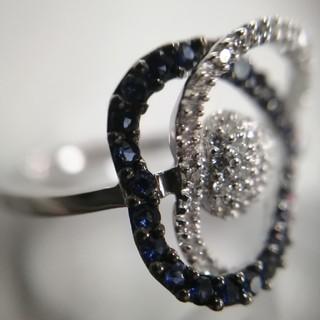 【47%OFF】K18WG サファイア ダイアモンド リング(リング(指輪))