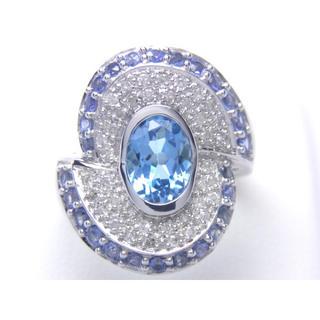 K18 天然 サファイア ブルートパーズ ダイヤ リング(リング(指輪))