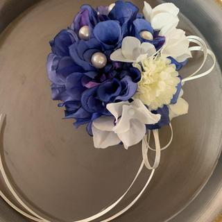toytoy589 ダリア コサージュ 【ブルー&白】髪飾り 卒業式 入学式(コサージュ/ブローチ)