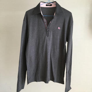 バーバリーブラックレーベル(BURBERRY BLACK LABEL)のバーバリー ブラックレーベル ポロシャツ 長袖 グレー (ポロシャツ)