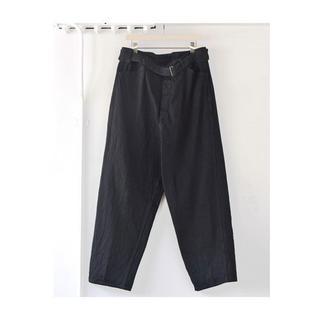 コモリ(COMOLI)のサイズ1 19aw comoli ベルテッドパンツ コモリ black(デニム/ジーンズ)